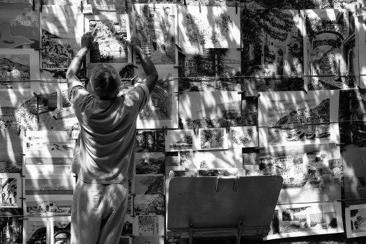 Italy artist hanging Positano